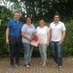 Bild von links 1. Bürgermeister Tobias Ehrlicher,Kornelia Wagner, Vorsitzende Katrin Liebermann, 1. Vorsitzender Markus Geflitter.